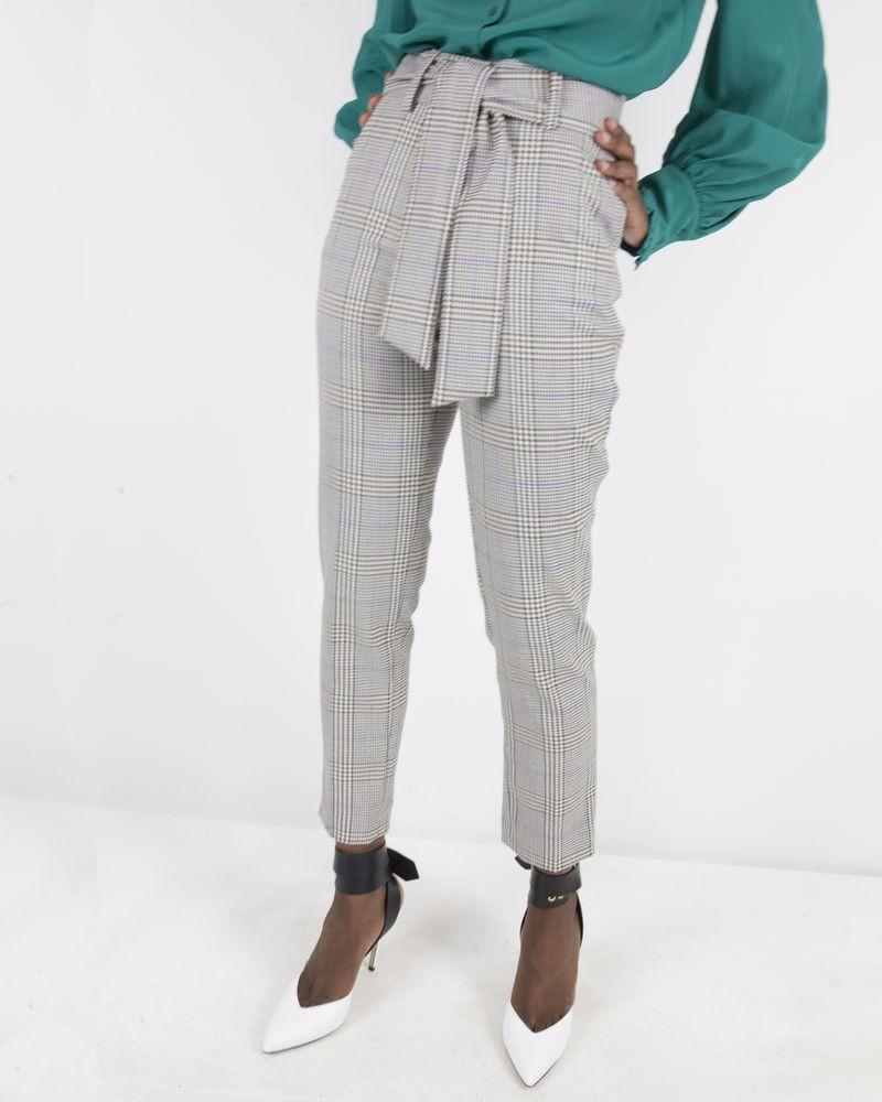 Pantalon à carreaux marron Space Simona Corsellini