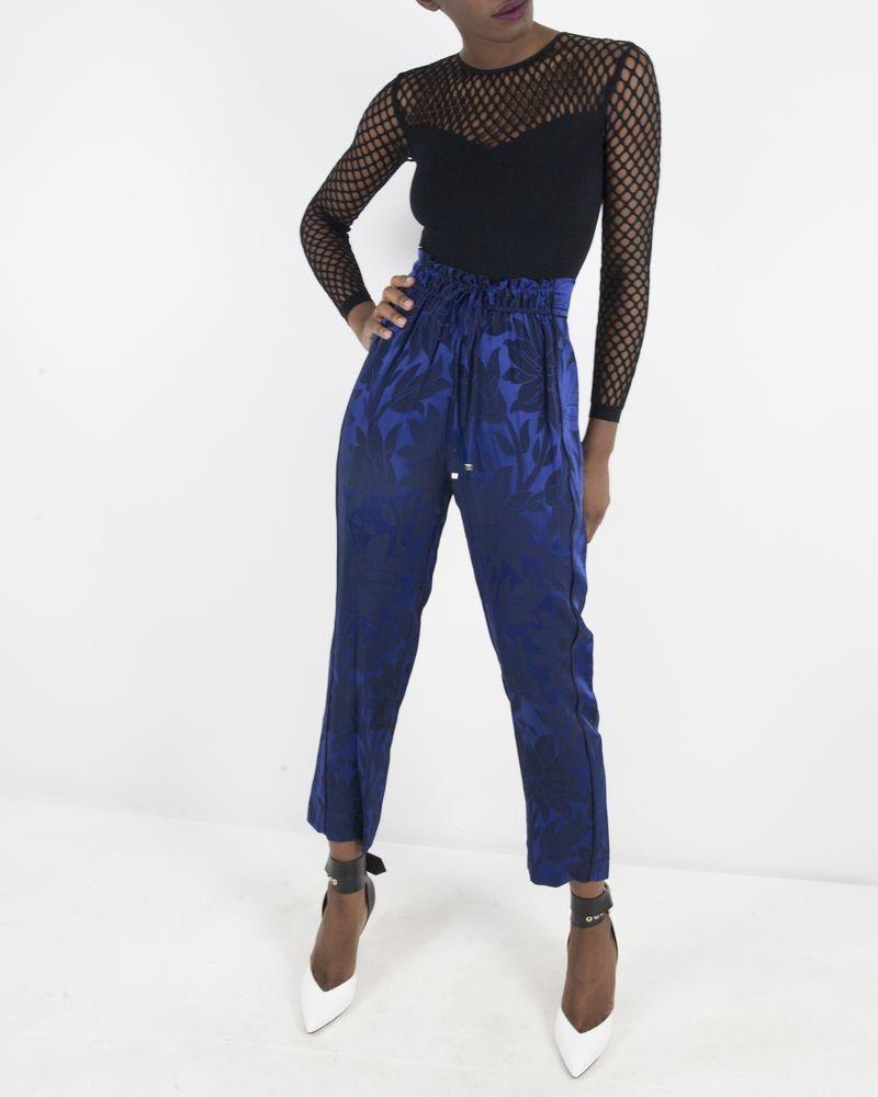 Pantalon bleu à motifs fleuris Space Simona Corsellini
