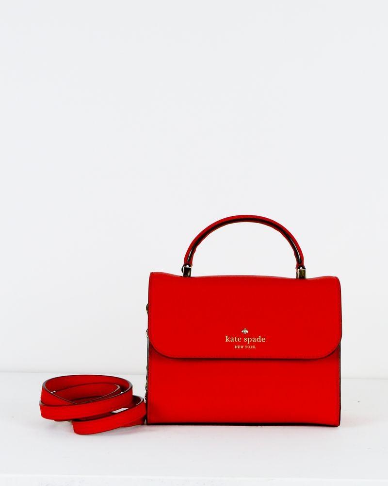Petit sac à main trapèze en cuir rouge Kate Spade
