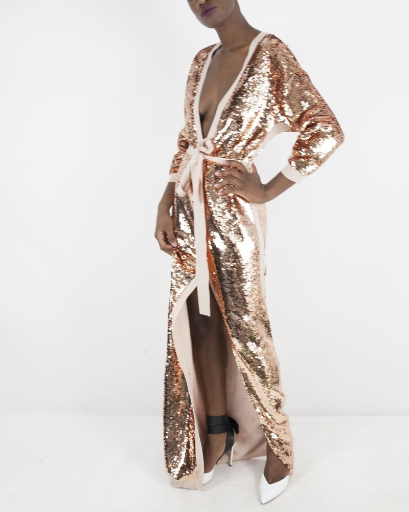 Robe cardigan en maille rose à sequins Elisabetta Franchi