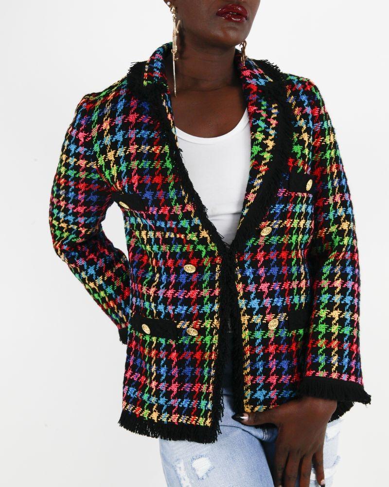 Veste noire en tweed Edward Achour