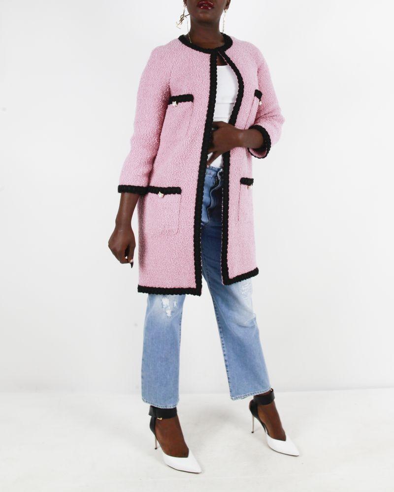 Manteau rose en tweed Edward Achour
