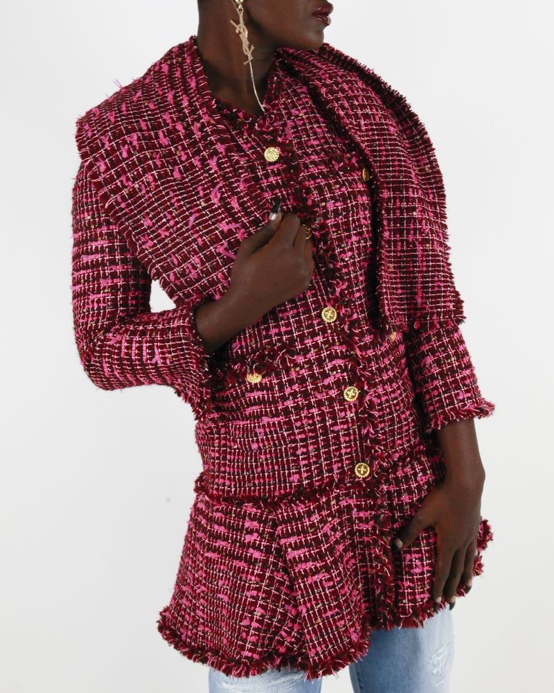 Manteau bordeaux et rose Edward Achour