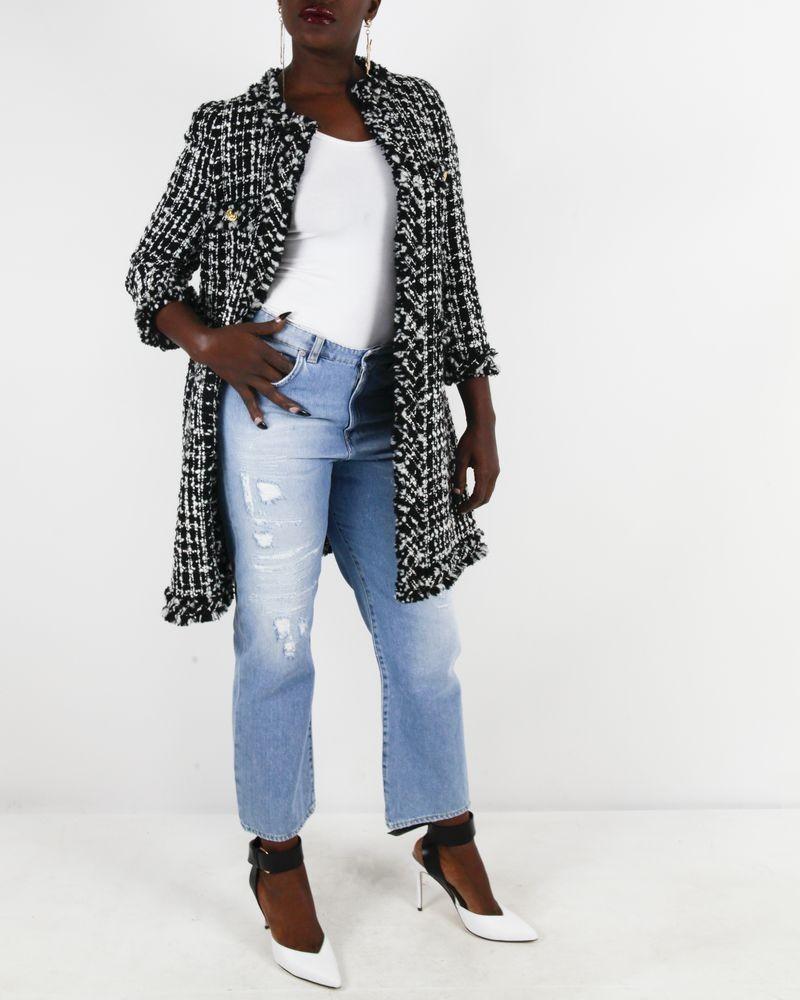 Manteau noir et blanc en tweed Edward Achour
