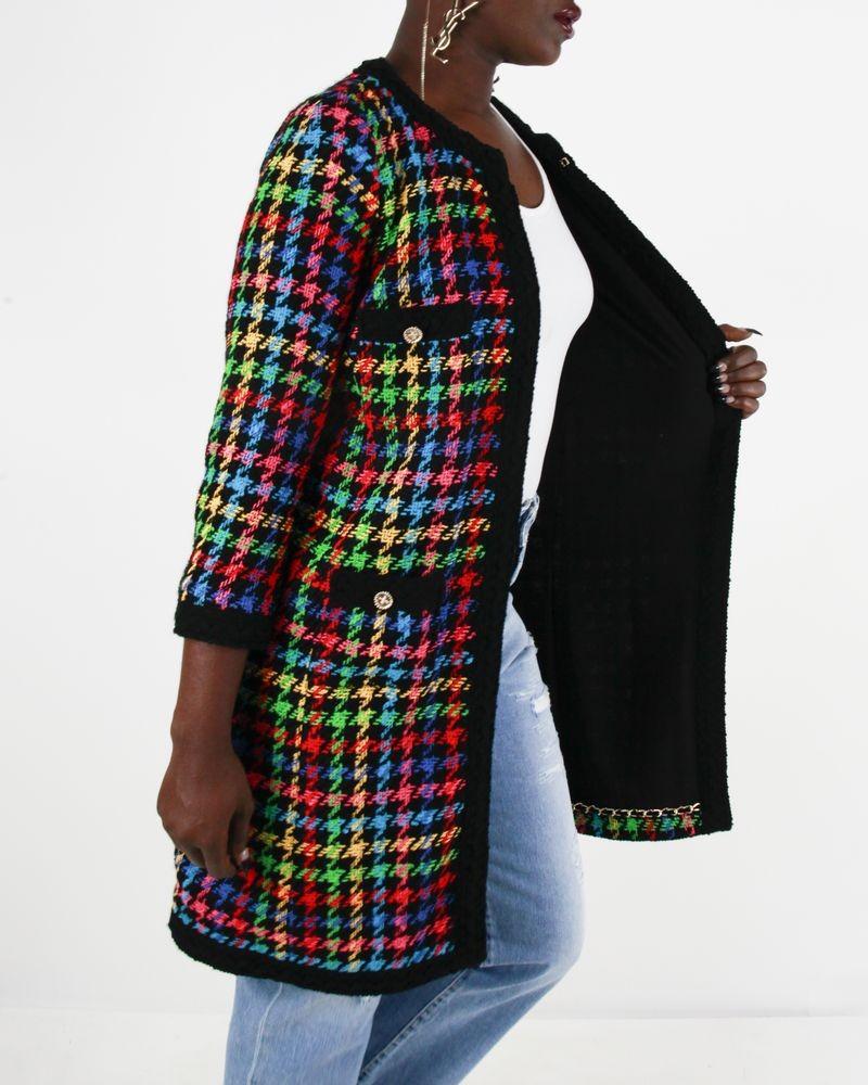 Manteau noir en tweed Edward Achour