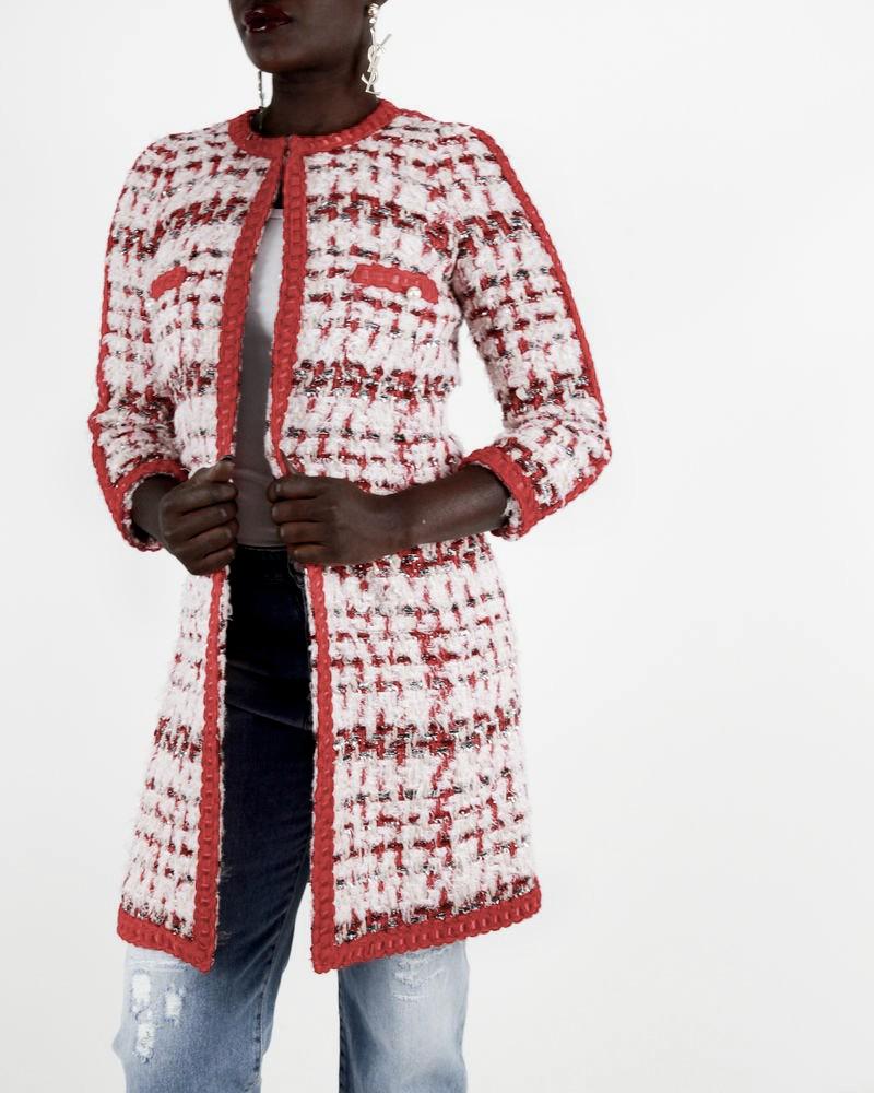 Manteau rouge et rose en tweed Edward Achour