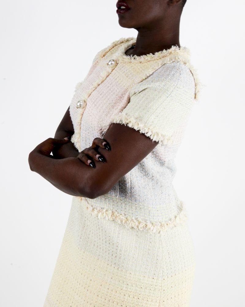 Robe jaune et rose en tweed Edward Achour