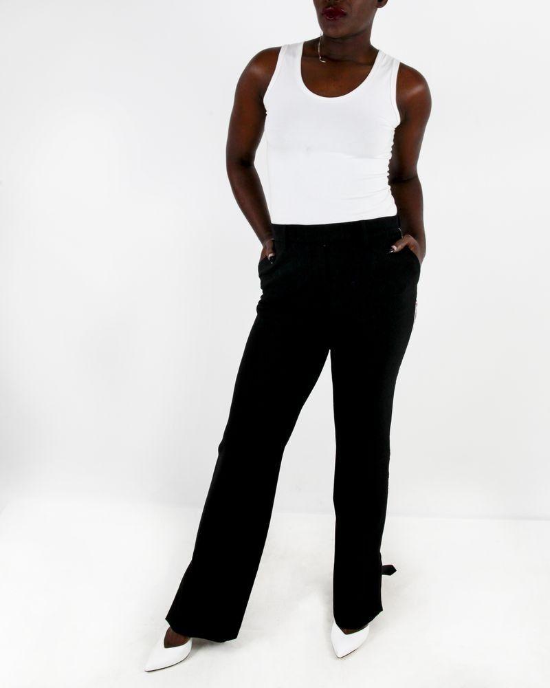 Pantalon noir à bandes rouges Space Simona Corsellini