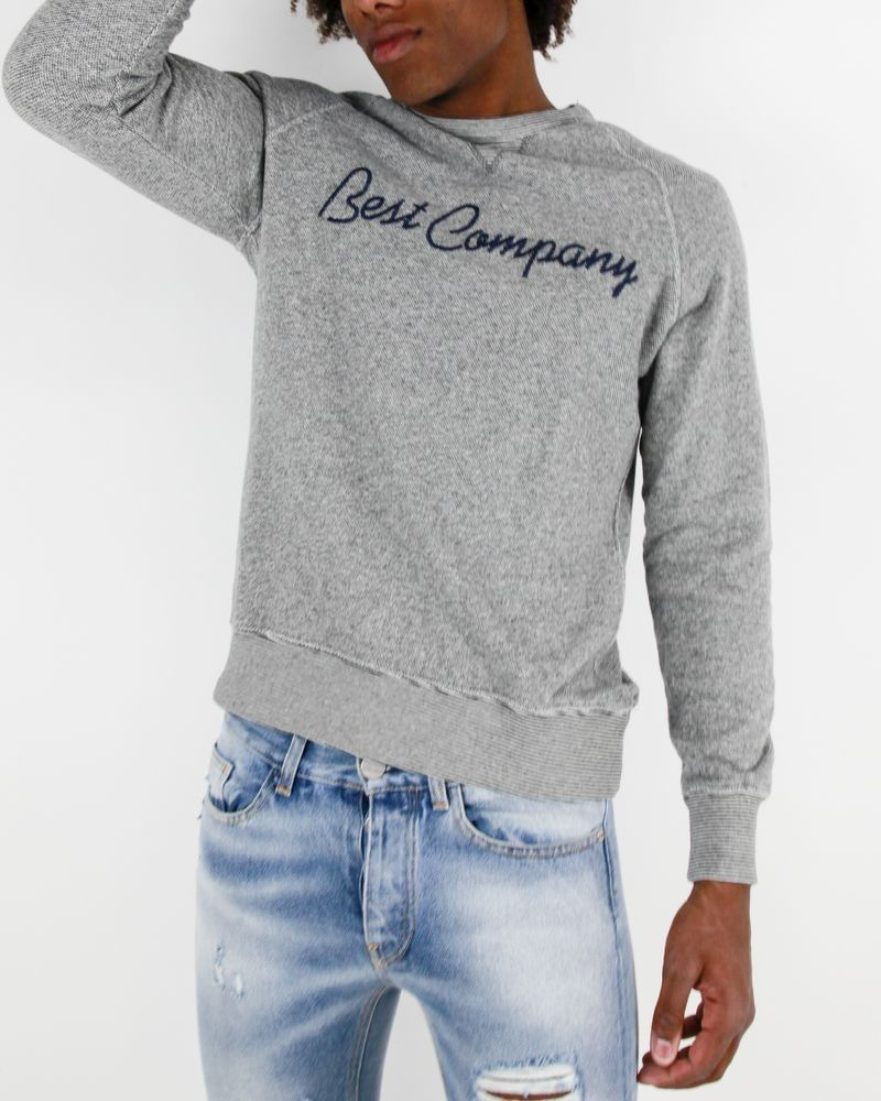 Sweat gris chiné à logo brodé Best Company