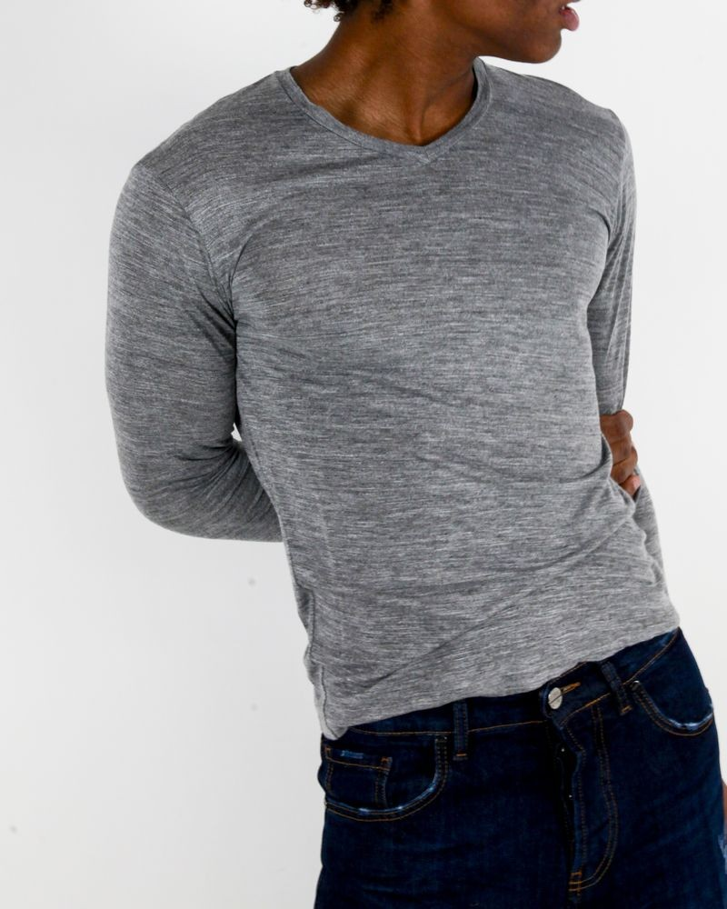 T-Shirt manches longues gris Woolgroup