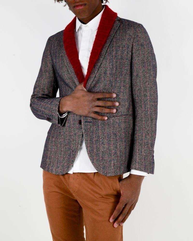 Veste en laine à carreaux marron et rouge Marchand Drapier