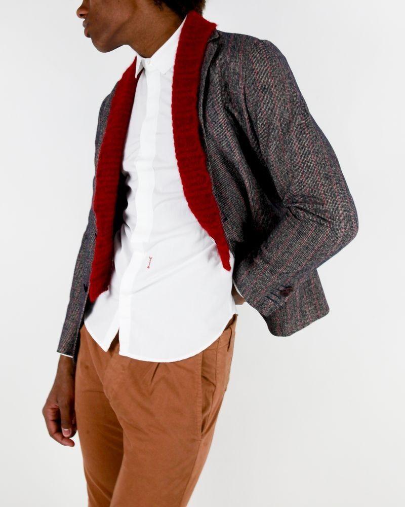 Veste marron col rouge Marchand Drapier