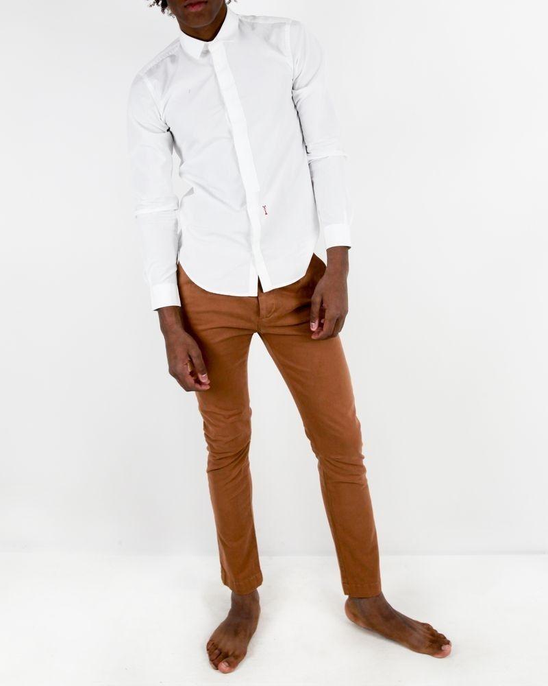 Pantalon regular fit en coton camel Manostorti