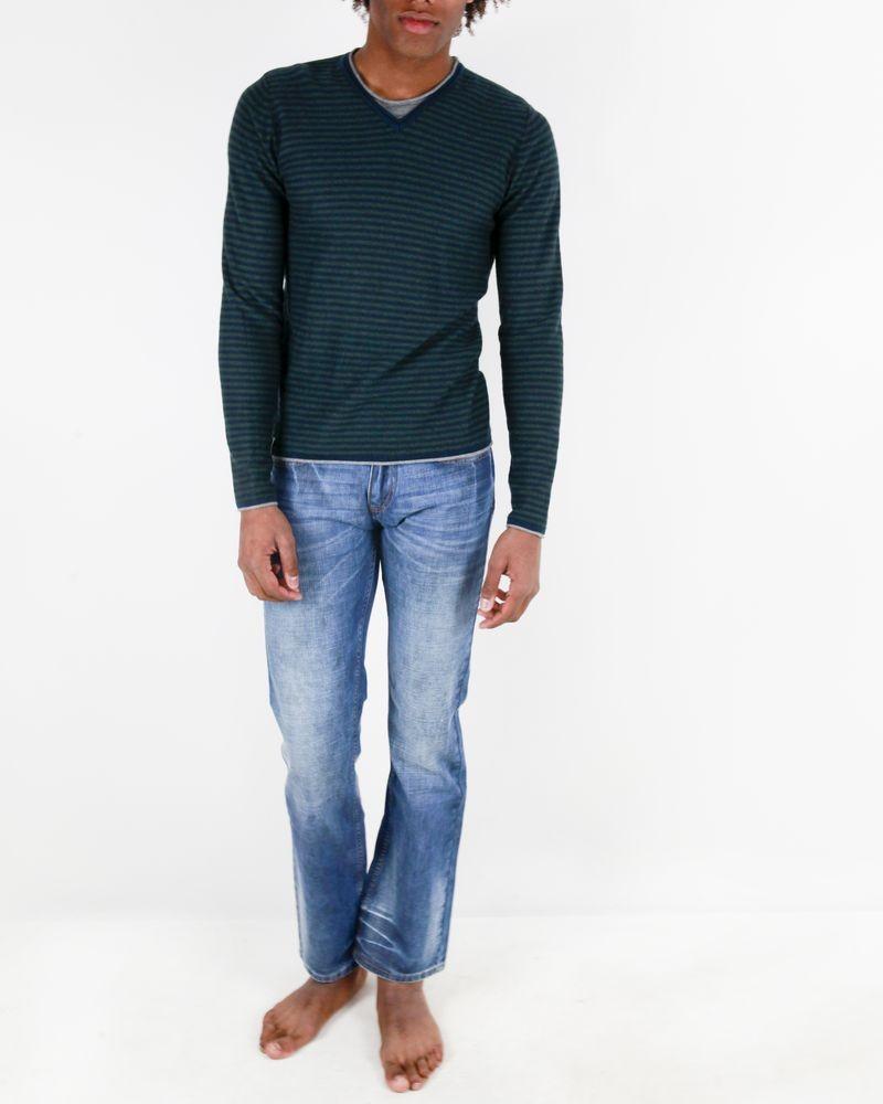 Pull en coton et cashmere kaki à rayures bleues Fred Mello
