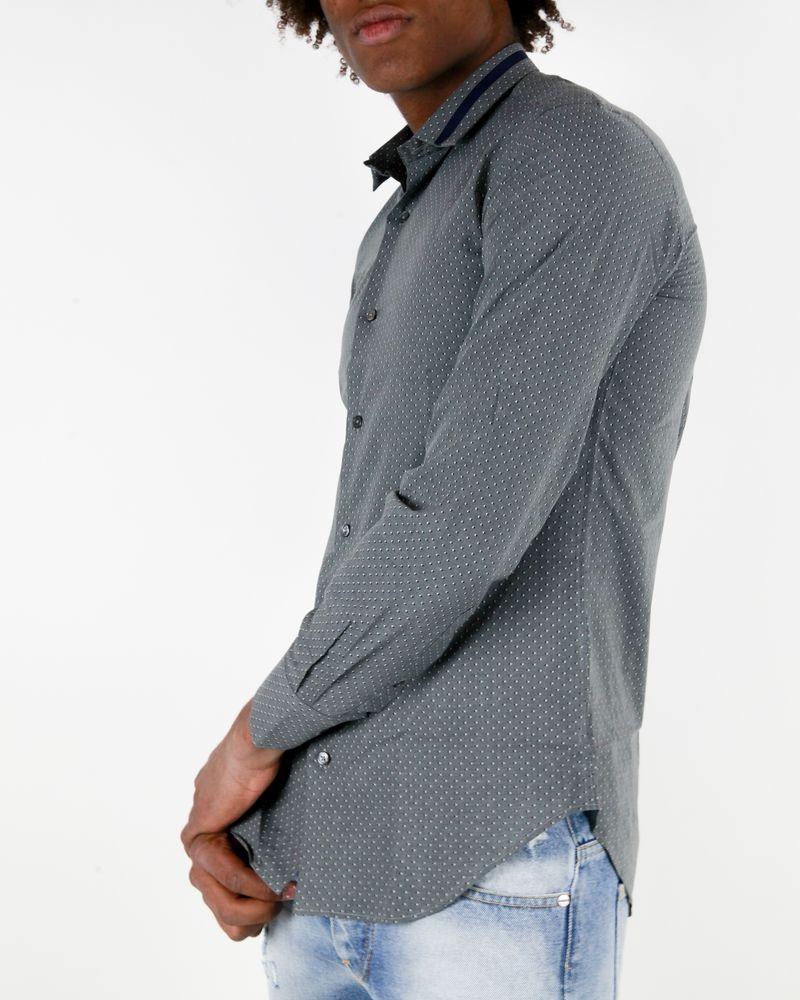 Chemise grise à pois Marchand Drapier