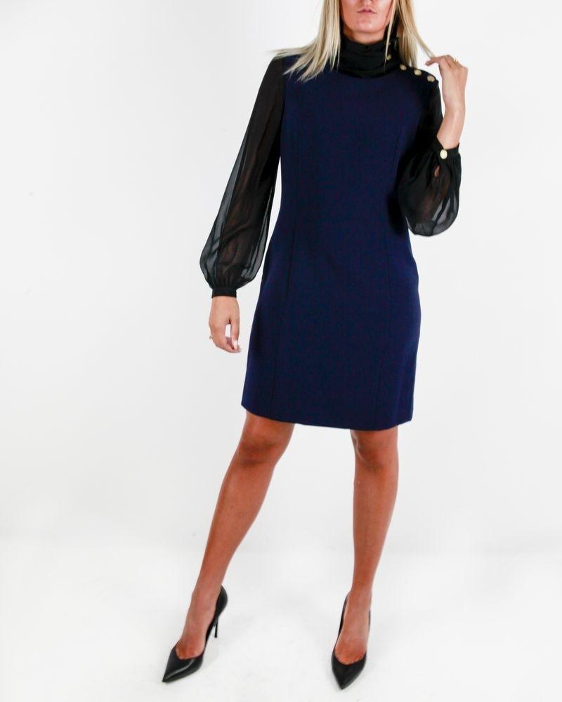 Robe bleue à manches en mousseline noire Balmain