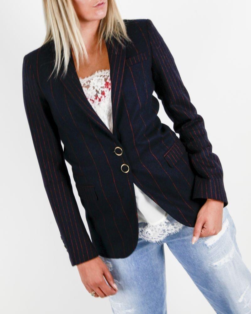 Veste de tailleur en laine bleu à rayures rouges Tommy Hilfiger