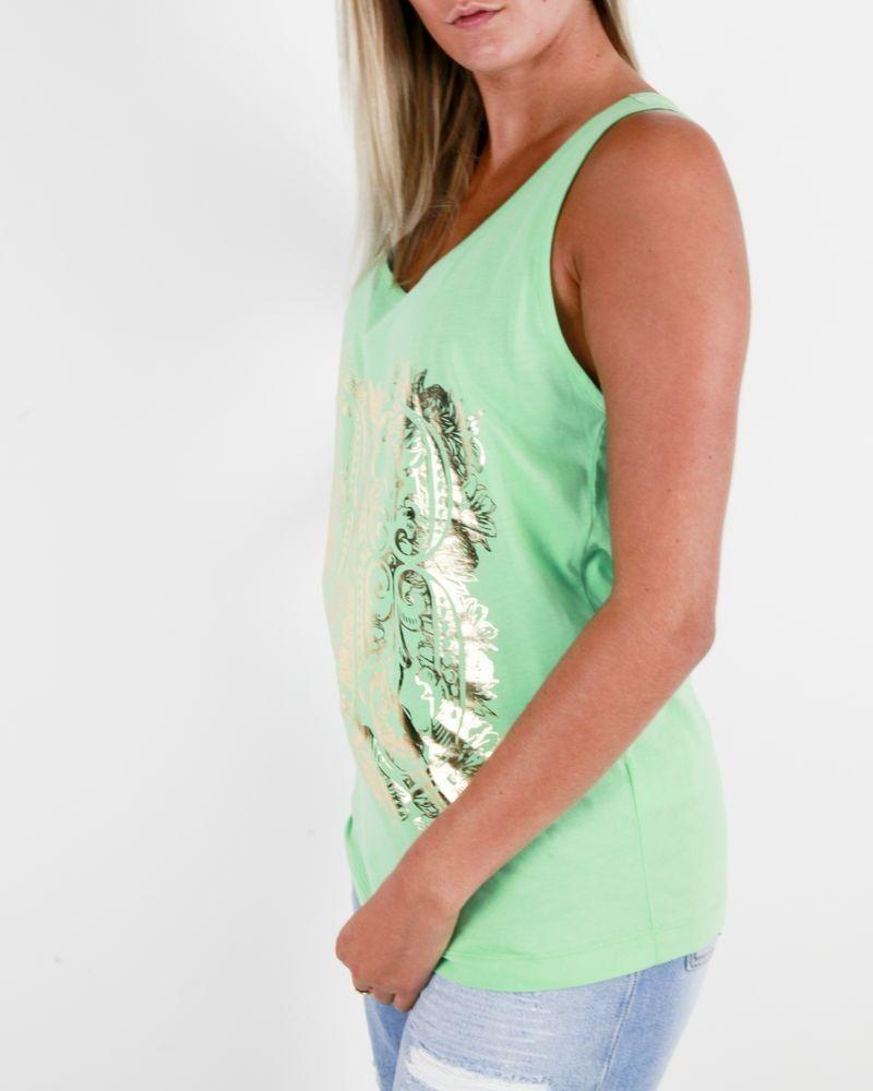 Débardeur vert d'eau à imprimé «Poisson» dorée Balmain