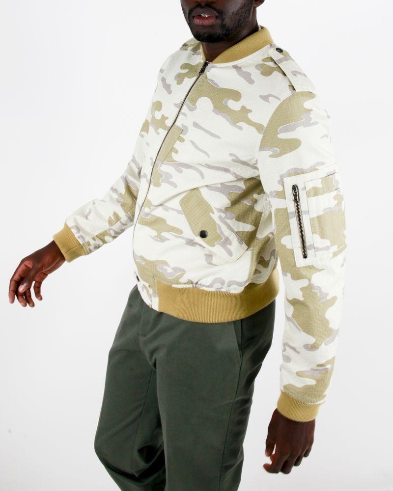 Veste bomber en coton beige camouflage Edition M.R