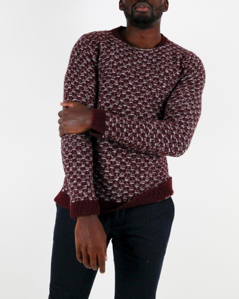Pull en laine bordeaux à motif géométrique Daniele Fiesoli