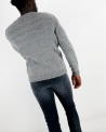 Pull grosse maille gris clair Daniele Fiesoli
