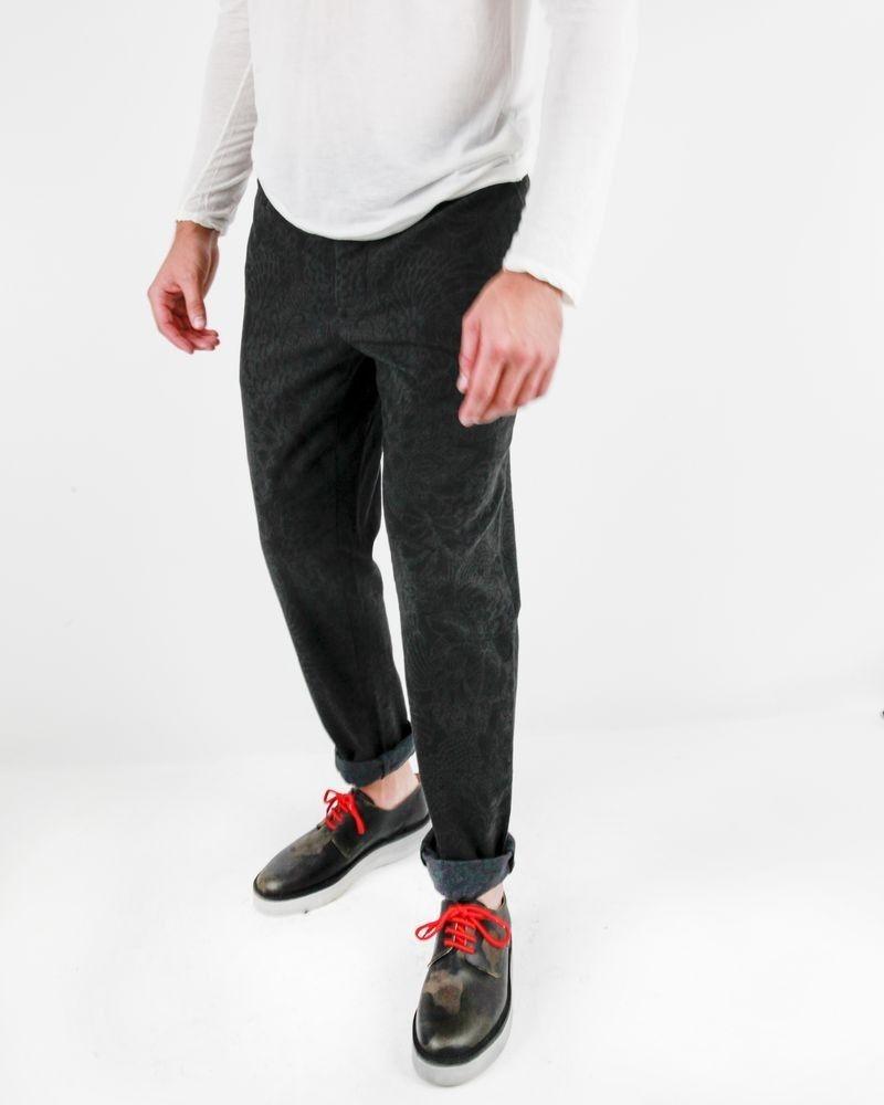 Pantalon à pince gris à motifs baroques Roda