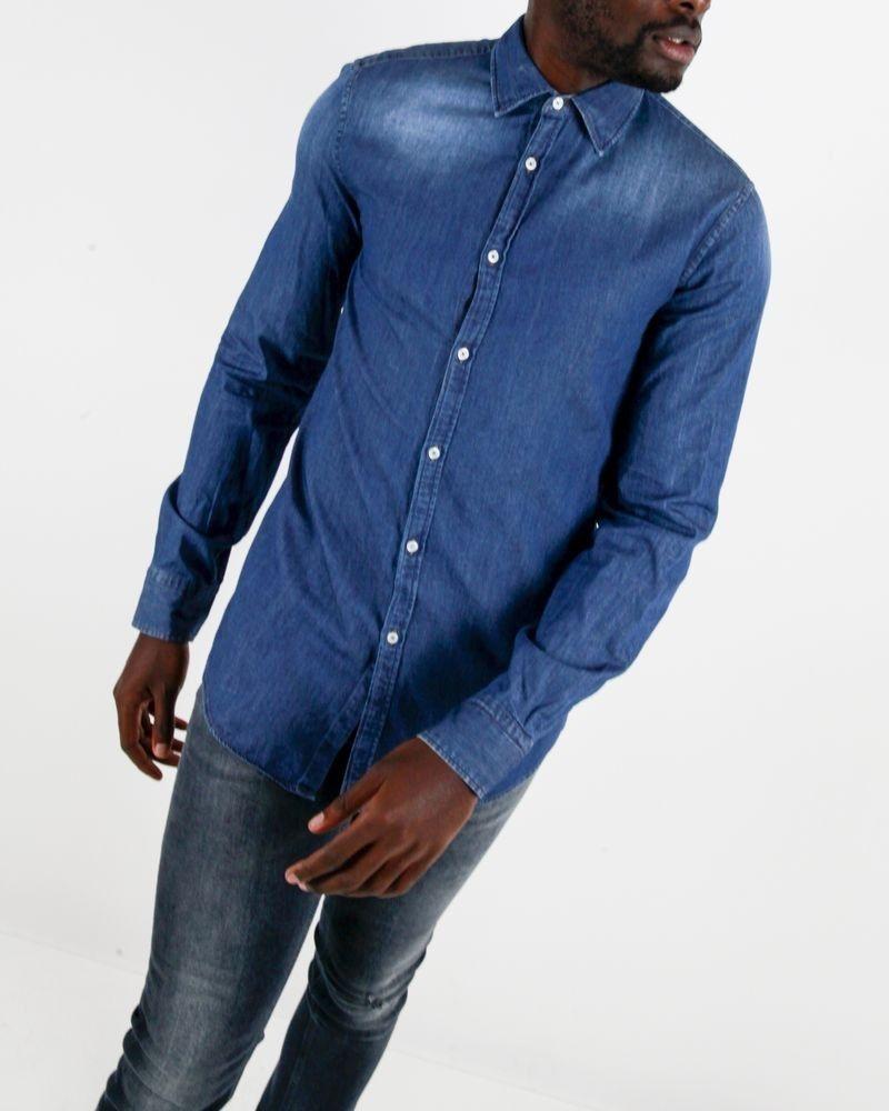 Chemise slim en jean bleue Trussardi