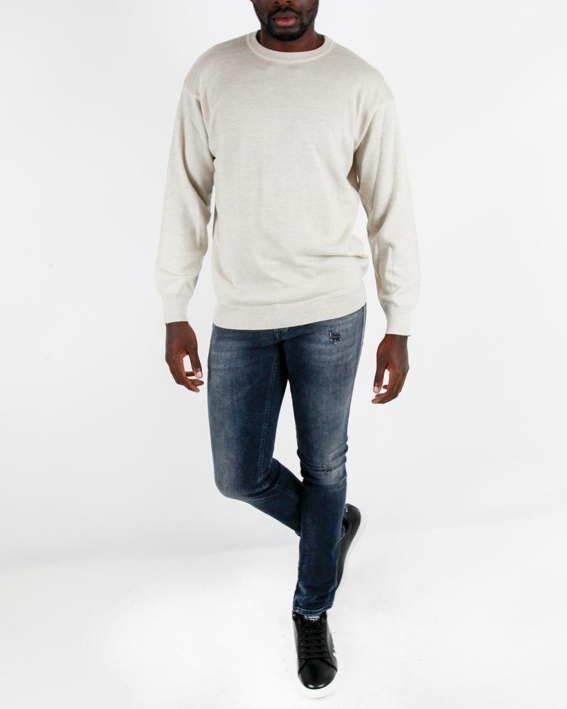 Pull à col rond en laine beige Casheart