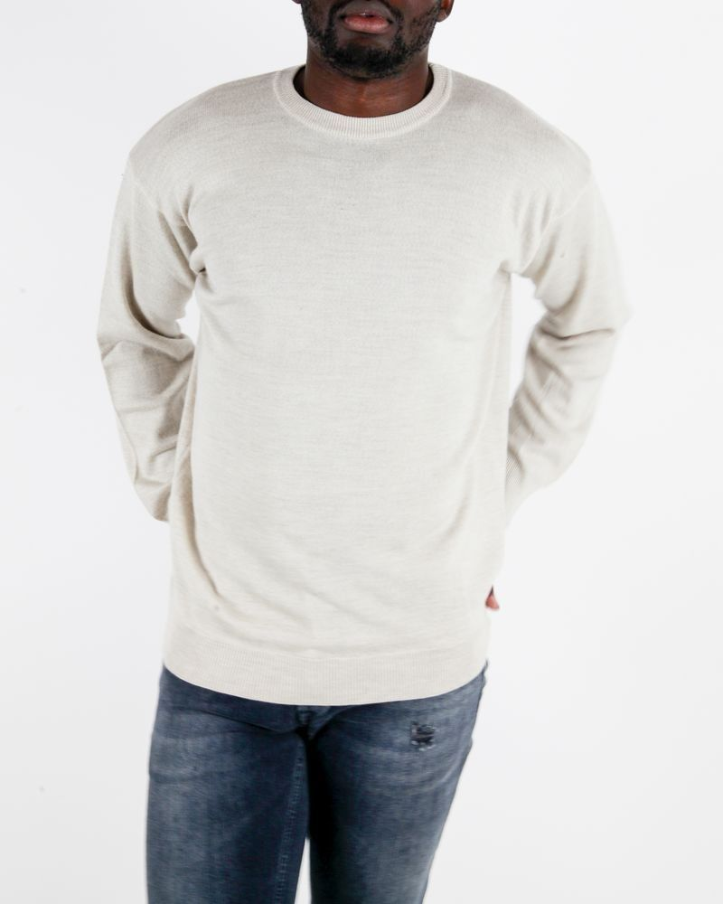 Pull beige col rond Casheart
