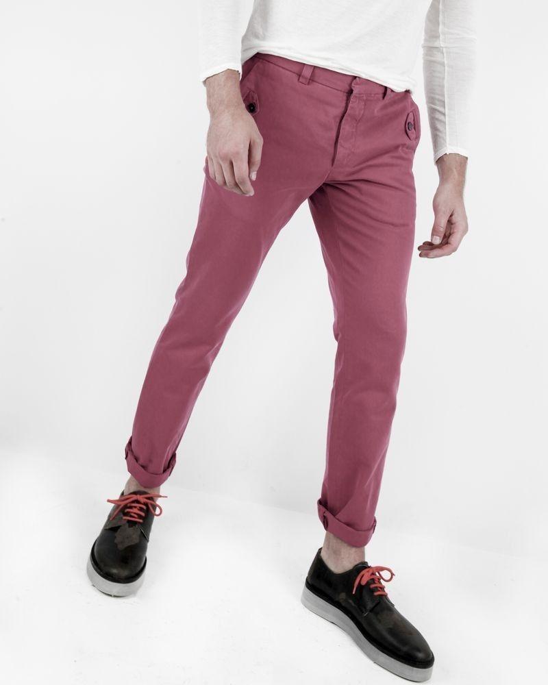 Pantalon chino framboise à poches fantaisies Marchand Drapier