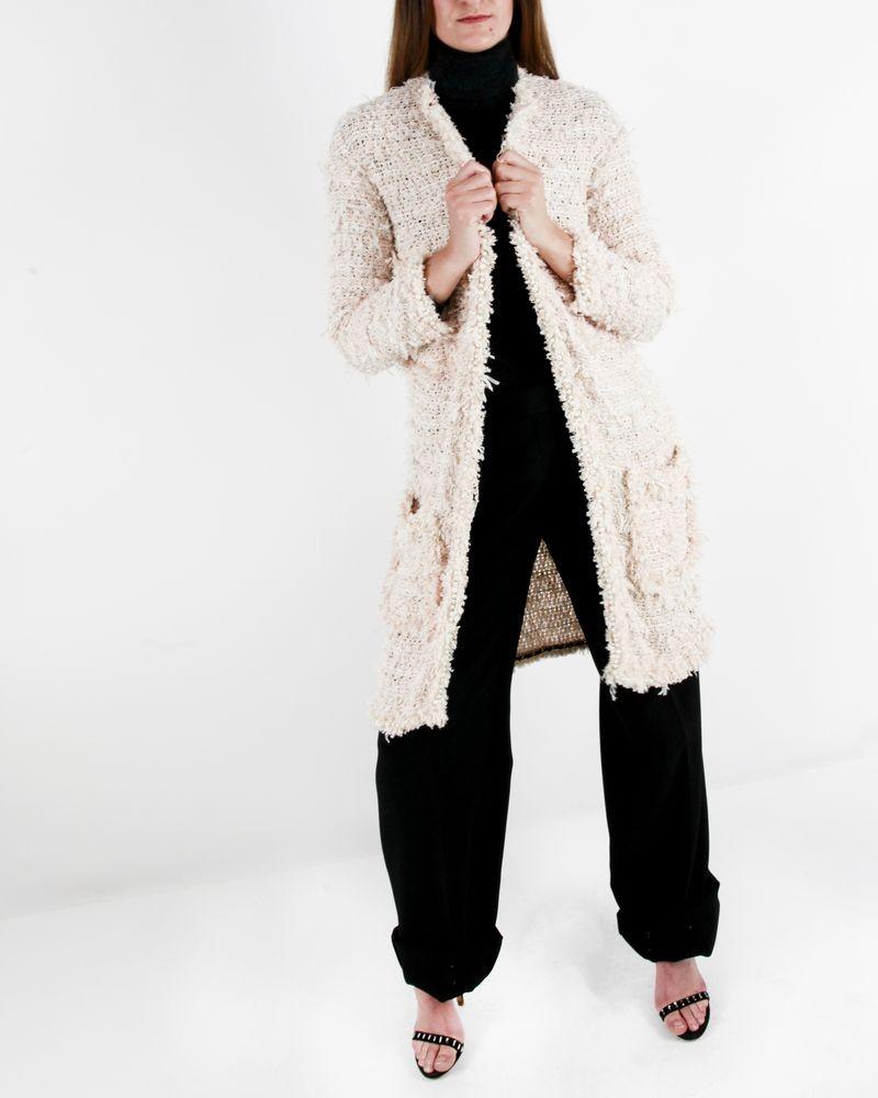 Manteau en tweed rose Edward Achour