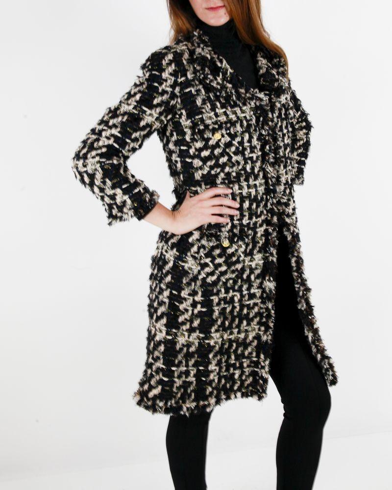 Manteau beige et noire en tweed Edward Achour