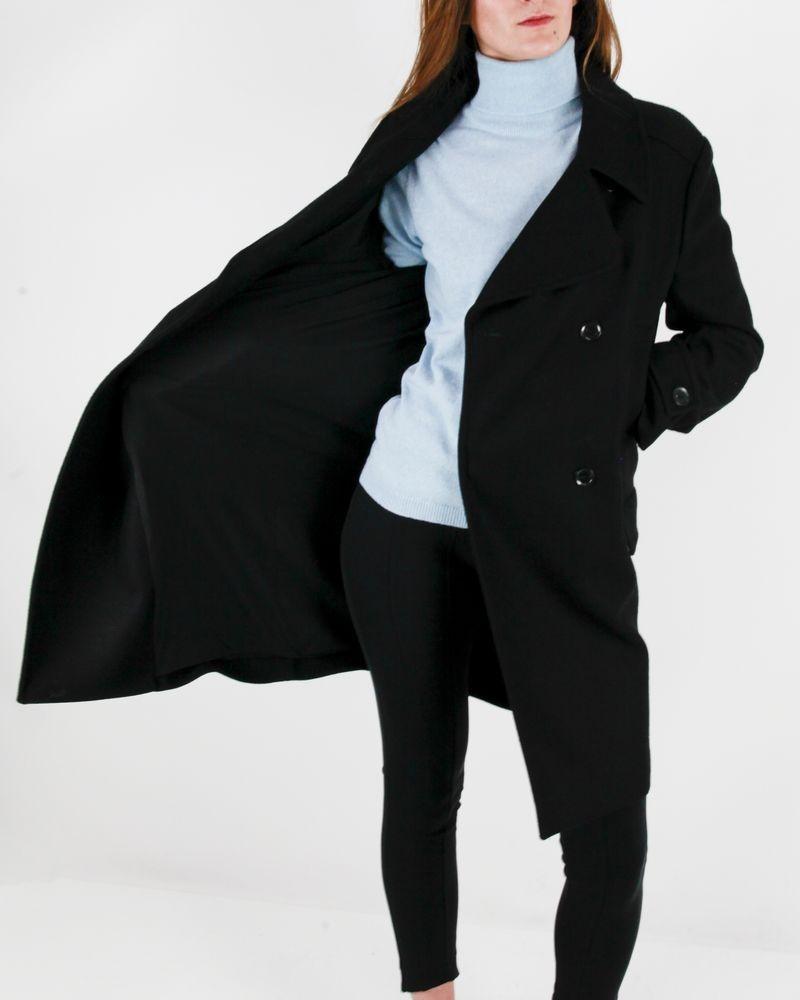 Manteau en laine noir à surpiqures fantaisies Emanuel Ungaro