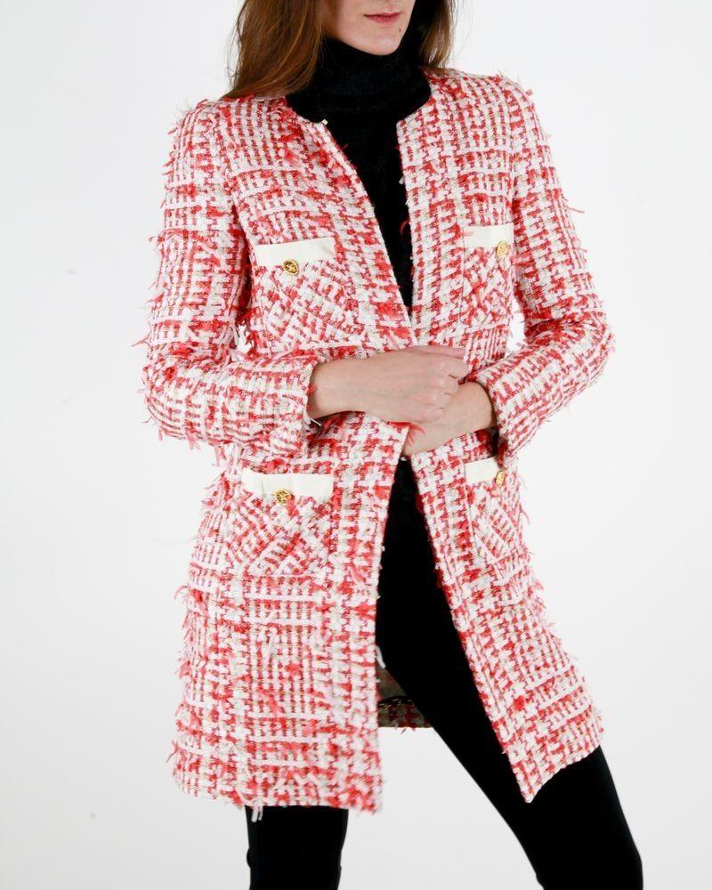Manteau en tweed blanc et saumon Edward Achour