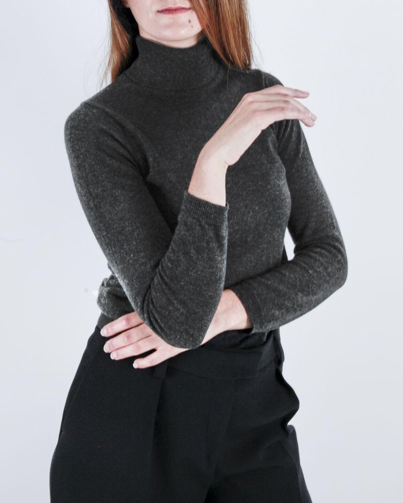 Pull en laine gris col roulé Casheart