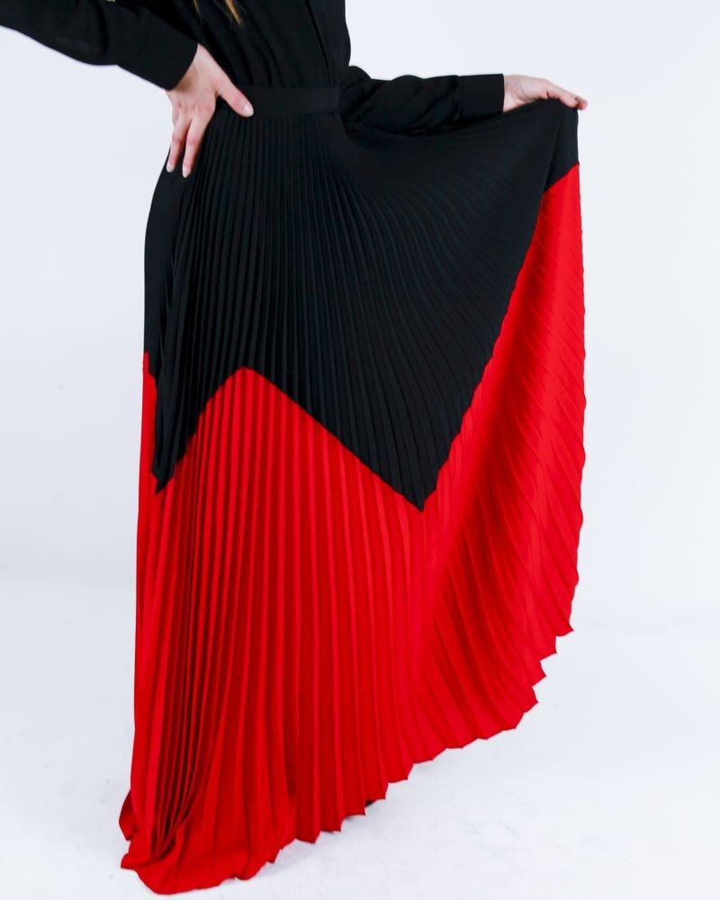 Robe chemisier noir à motif rouge plissée Space Simona Corsellini