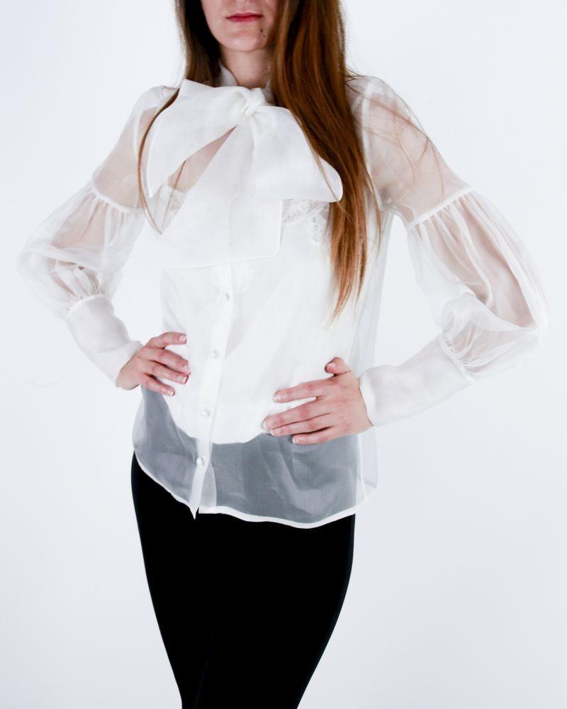 Chemisier blanc transparent en soie Space Simona Corsellini