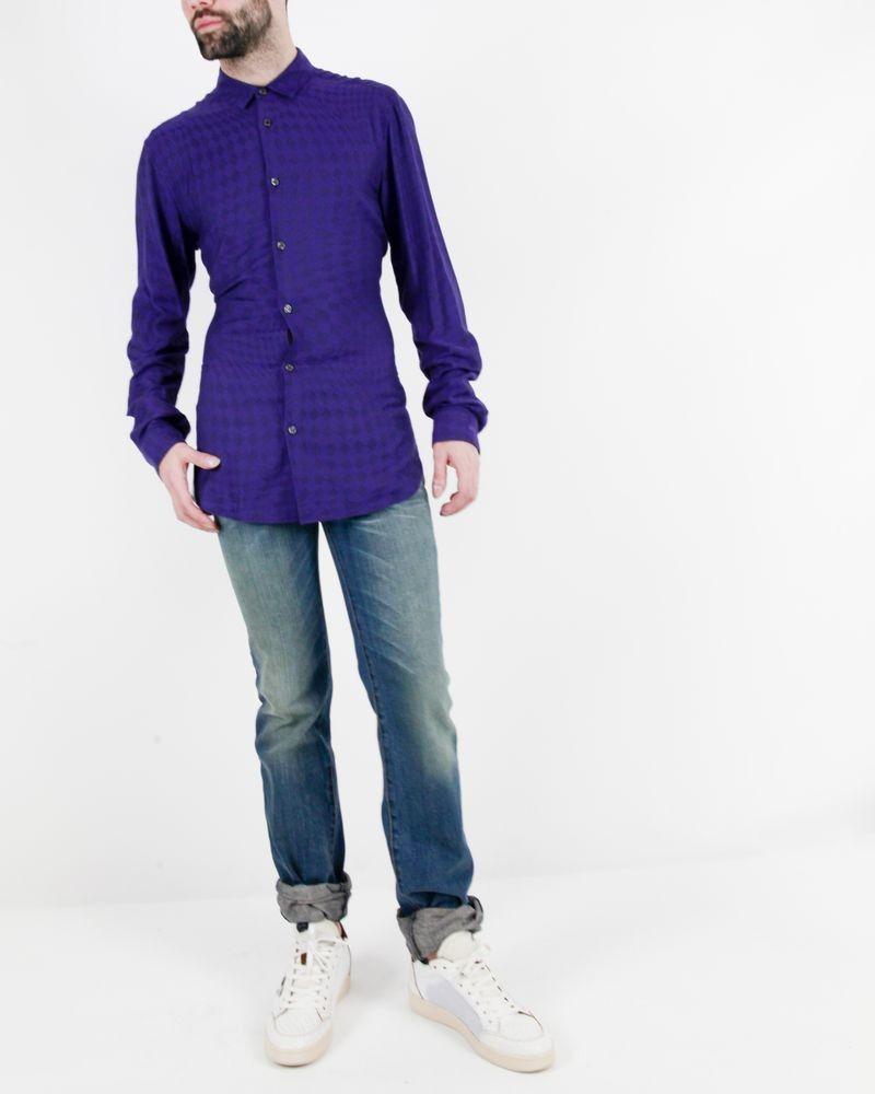 Chemise violette à imprimé losanges Roberto Cavalli