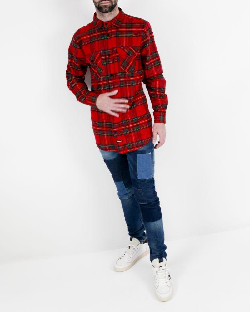 Chemise rouge à carreaux et dos flocké Les (art)ists