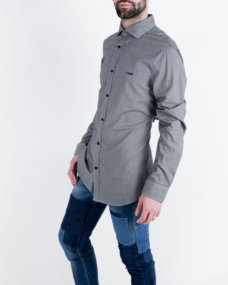 Chemise grise à petit carreaux Guess