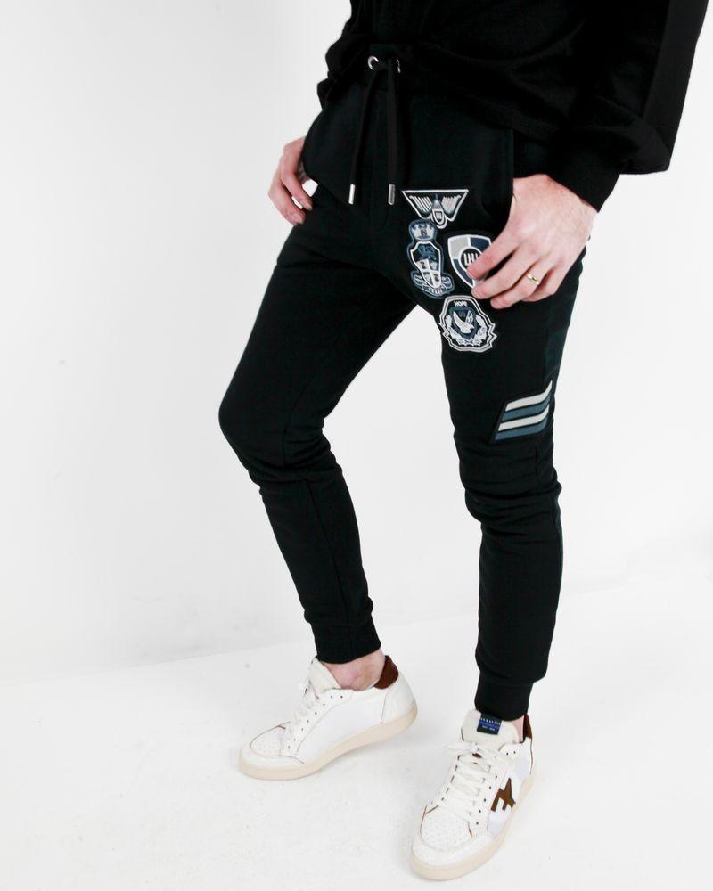 Pantalon jogging noir à écuissons fantaisies Les Hommes