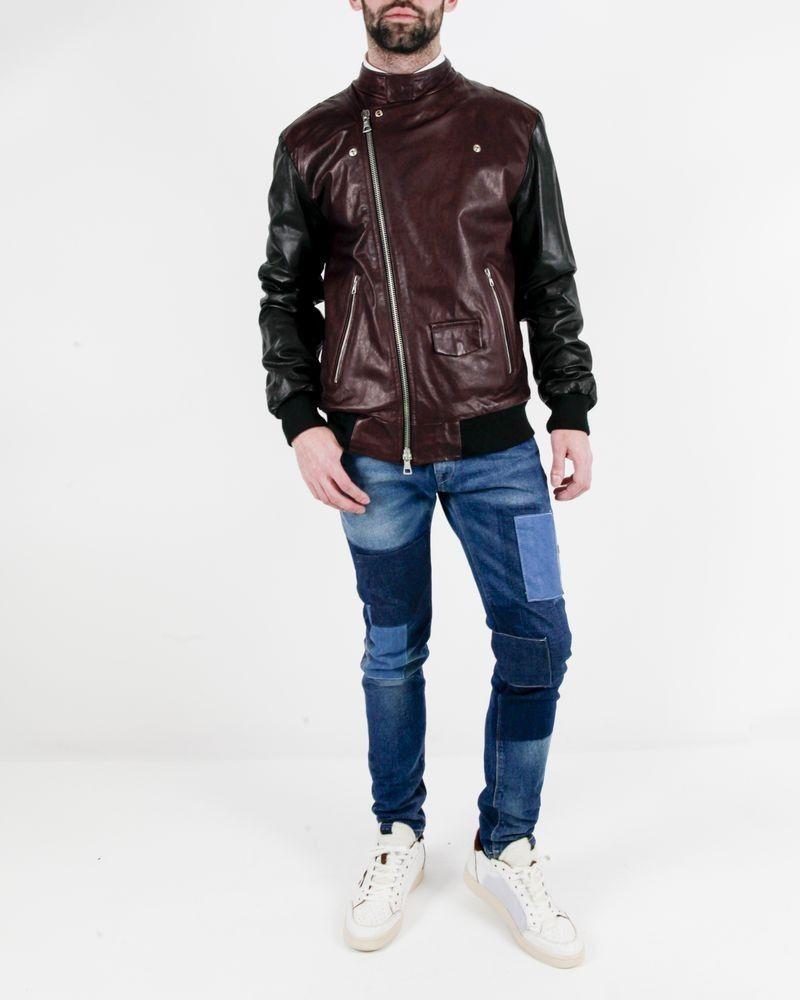 Perfecto en cuir noir et bordeaux Low Brand