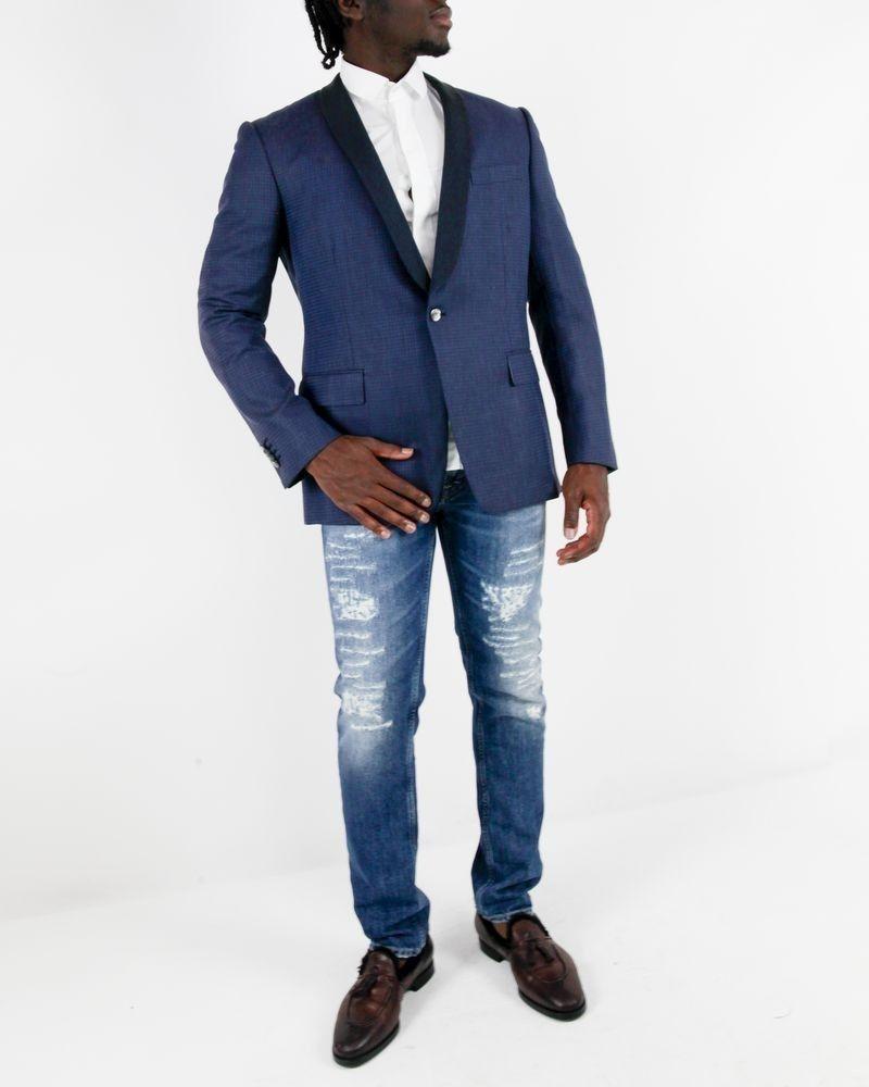 Veste en laine bleue à petit carreaux Roda