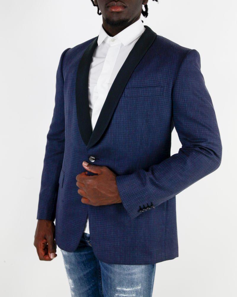 Veste en laine bleue à petit carreaux Rake Roda