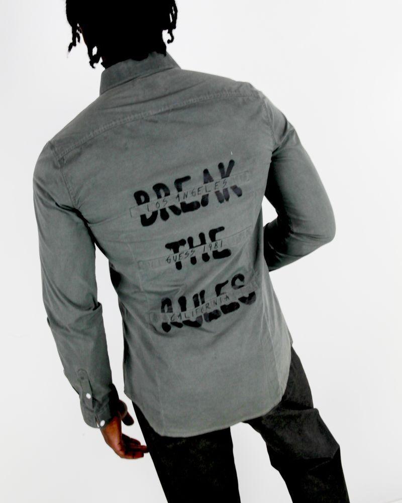 Chemise grise à dos flocké Guess