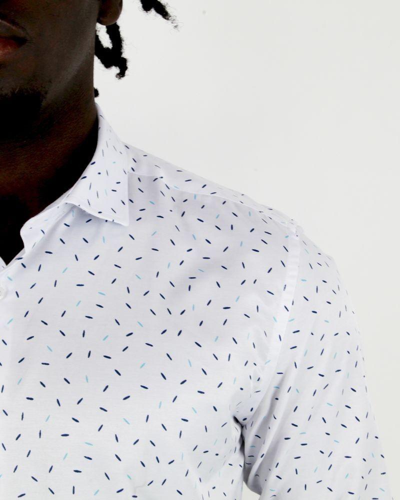 Chemise blanche en coton à motifs Chrom