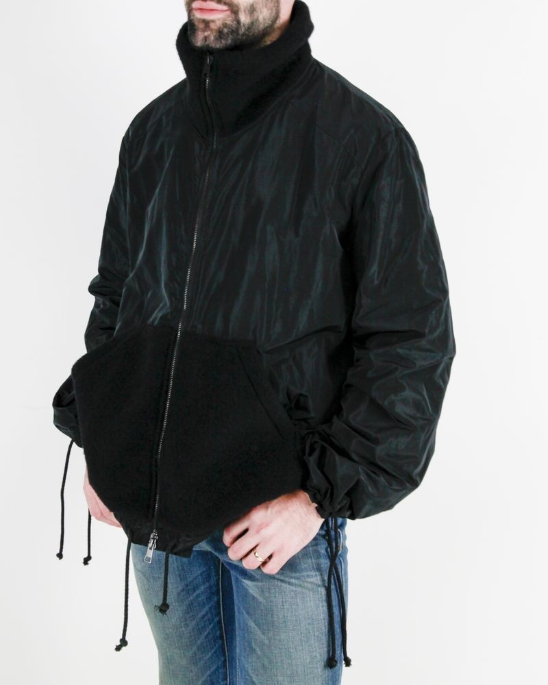 Blouson noir à empiècement laine Lost & Found