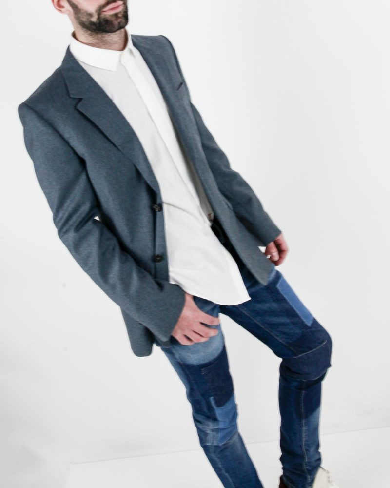 Veste en laine bleu molletonnée Edition M.R