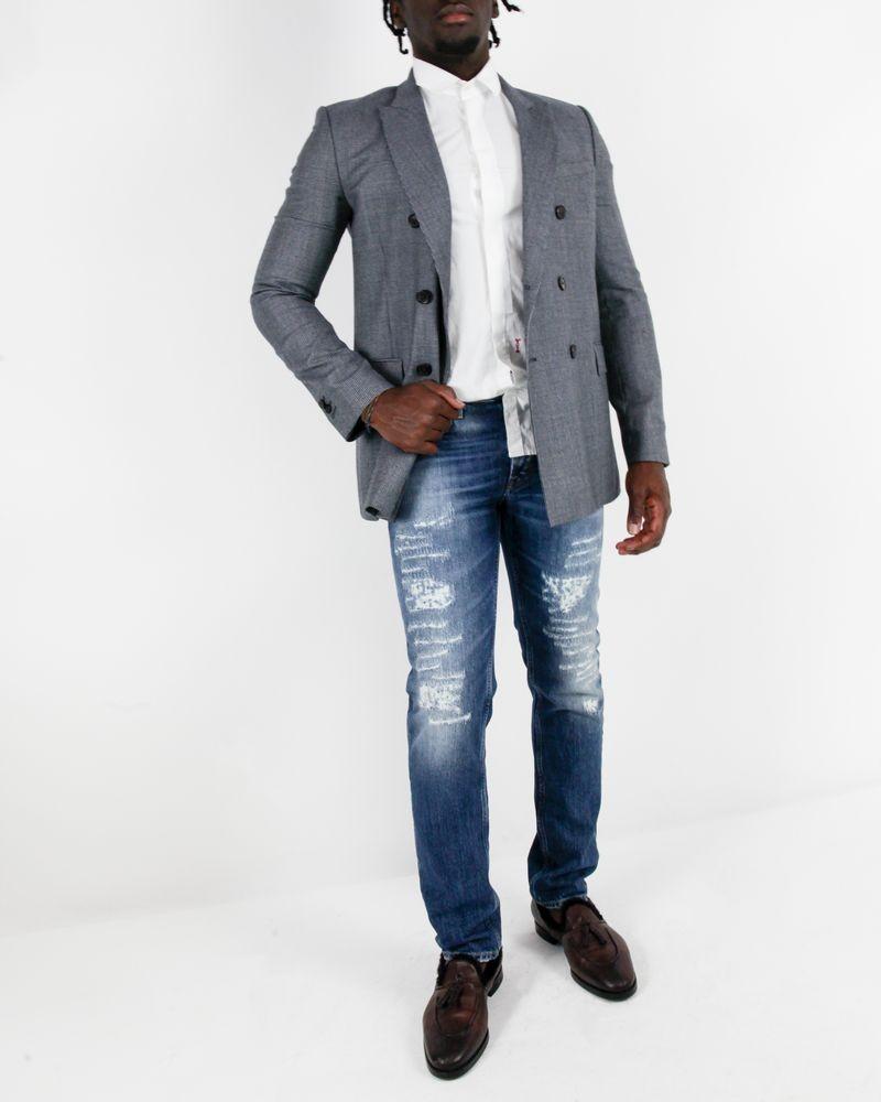 Veste en laine grise à fins carreaux Edition M.R