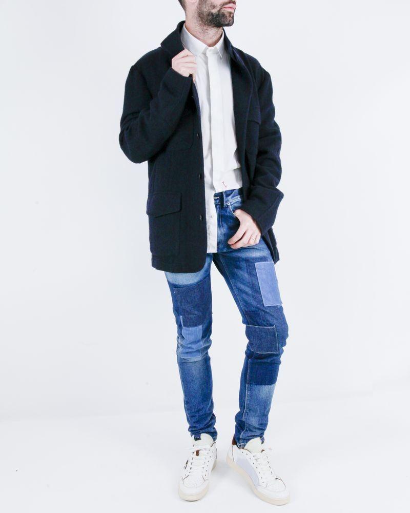 Manteau en laine bleu Luca Capri